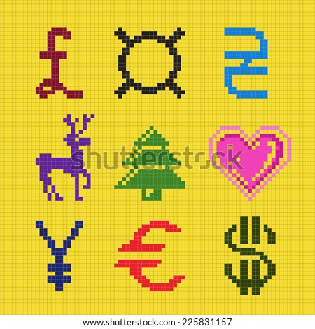 Cross embroidery pixel art currency christmas square scheme vector, EPS8 - stock vector