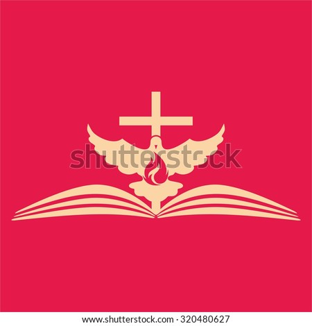 Cross, flame, dove and Bible on pink background  - stock vector