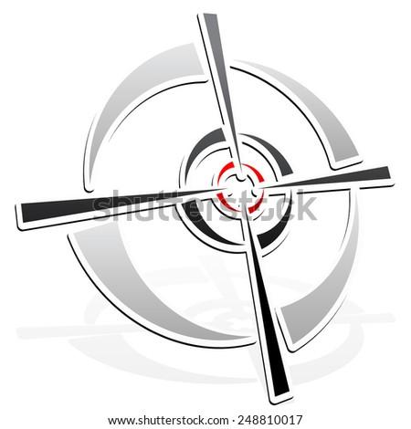 Cross-hair, reticle, target-mark element - stock vector