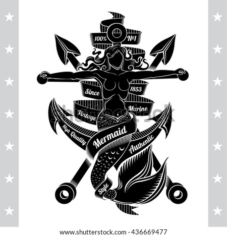Cross Harpoons And Mermaid Crucified On Anchor. Marine Vintage Label On White - stock vector