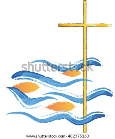 Cross in a sea with fish swimming towards it. Symbol of Jesus Christ and Christianity. Christian abstract artistic color vector illustration. - stock vector