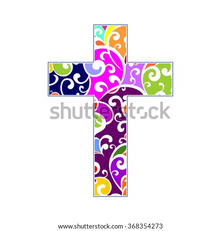 Cross isolated on White background. Christian Symbol. Vector illustration  - stock vector