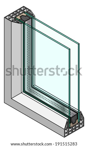 Cross-section diagram of a double glazed window. - stock vector
