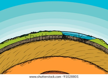 Cross-section illustration of the planet Earth and its atmosphere - stock vector