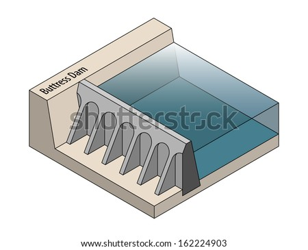 Cross section of a buttress dam. - stock vector