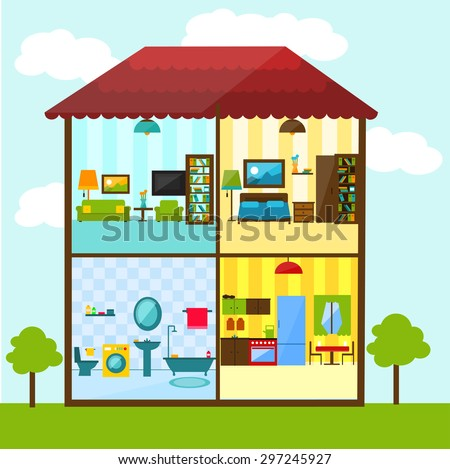 Cross section of house in flat style illustration - Living room bedroom bathroom kitchen ...