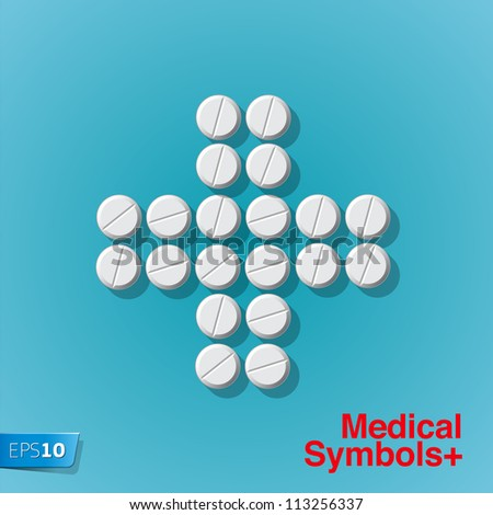 Cross shape with medical pills on blue background, vector Eps 10 illustration. - stock vector