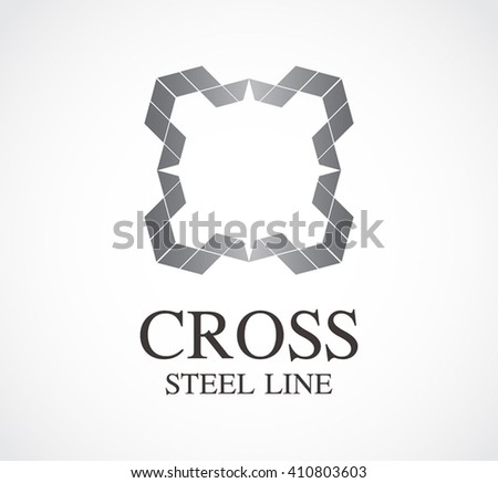 Cross steel of border line abstract vector and logo design or template metallic business icon of company identity symbol concept - stock vector