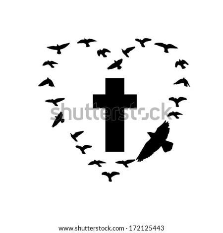 cross with flying birds. Vector - stock vector