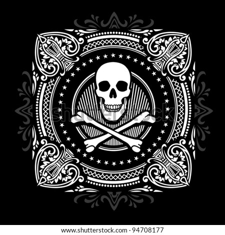 Crossbones and Ornate Spades - stock vector