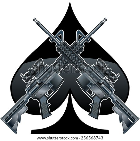 crossed assault rifles over the ace of spades - stock vector