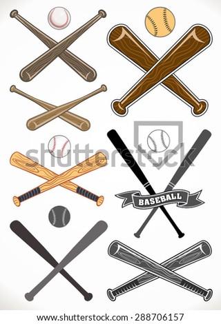 crossed baseball bats and ball sets - stock vector