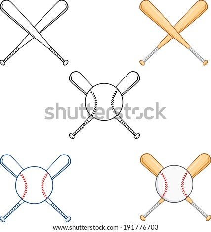 Crossed Baseball Bats. Vector Collection Set - stock vector