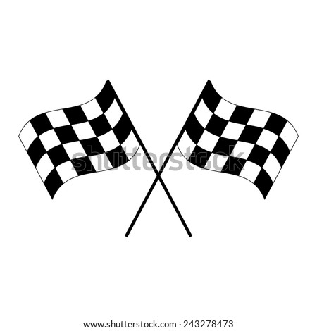 Crossed black and white checkered flags logo waving in the wind conceptual of motor sport, isolated on white - stock vector