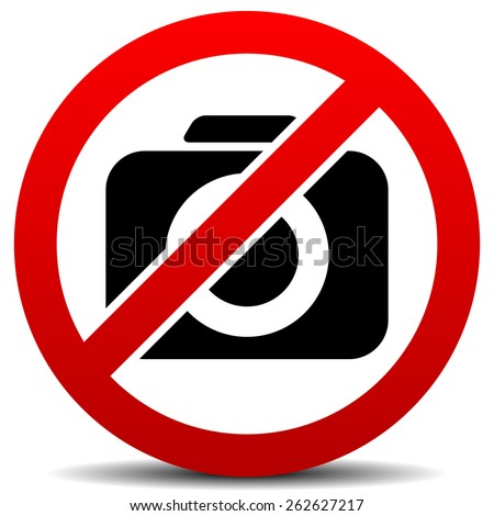 Crossed Camera Symbol, No Photo Sign with Rounded Camera - stock vector