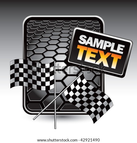 crossed checkered flags black hexagon ad - stock vector