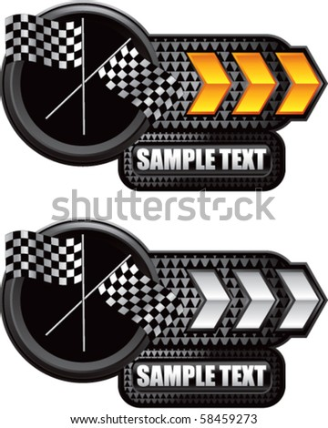 crossed checkered flags gold and white arrow nameplate - stock vector