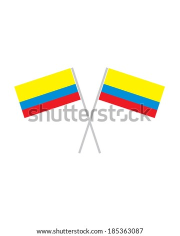 Crossed Colombian Flags - Vector - stock vector