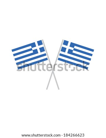 Crossed Greek Flags - Vector - stock vector