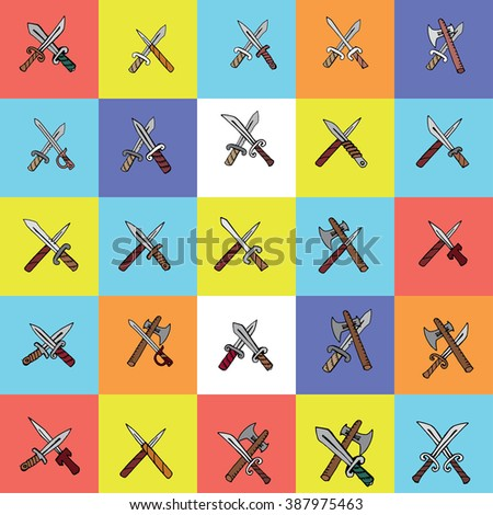 Crossed hand drawn weapons vector illustration set. Crossed sabre and axe. - stock vector