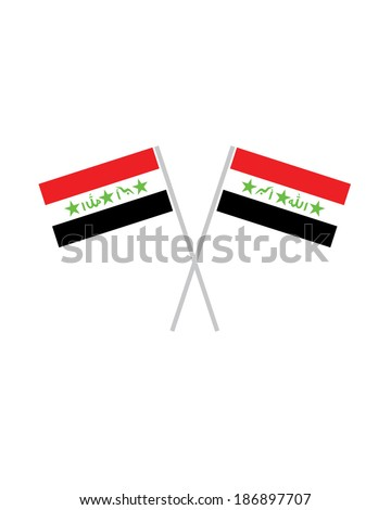 Crossed Iraq Flags - Vector - stock vector