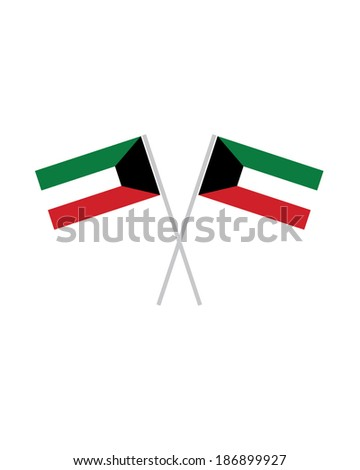 Crossed Kuwait Flags - Vector - stock vector