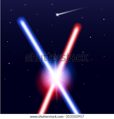 Crossed light swords on isolated black background with stars. Realistic bright colorful laser beams. Vector illustration. - stock vector