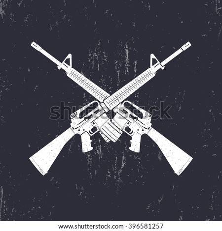 crossed M16 assault rifles, two 5.56 mm automatic guns, vector illustration - stock vector