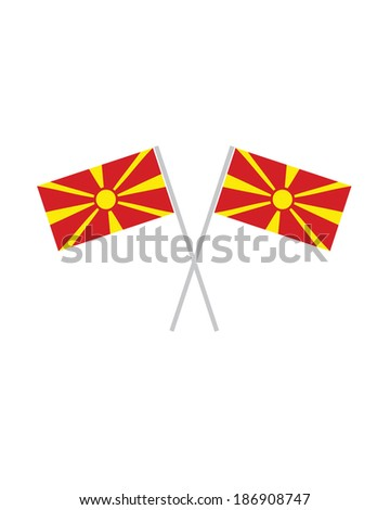 Crossed Macedonia Flags - Vector - stock vector