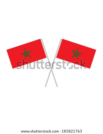 Crossed Morocco Flags - Vector - stock vector