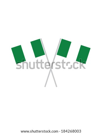 Crossed Nigerian Flags - Vector - stock vector