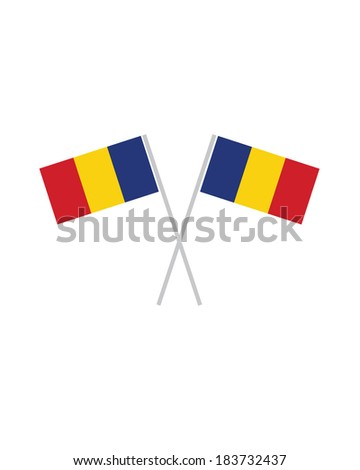Crossed Romanian Flags - Vector - stock vector
