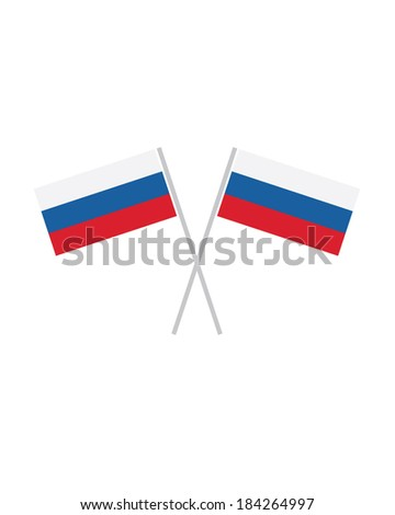 Crossed Russian Flags - Vector - stock vector
