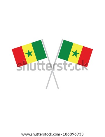 Crossed Senegal Flags - Vector - stock vector