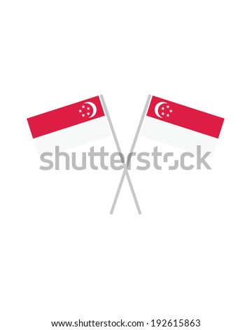 Crossed Singapore Flags - Vector - stock vector