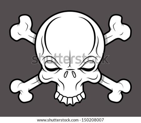 Crossed Skull Tattoo - Vector Cartoon Illustration - stock vector