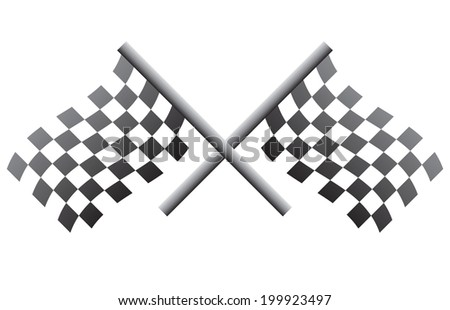 Crossed small racing flags - stock vector