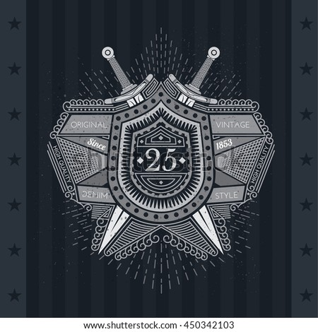 Crossed swords behind the shield with ribbons and light rays on blackboard - stock vector