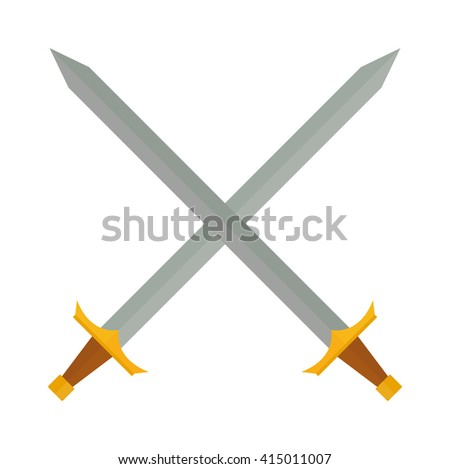 Crossed swords silhouette on white background. Medieval weapons cross swords. Collection of vector edged weapons cross swords. Silver metal sword crossed with red handles. Old cross swords. - stock vector