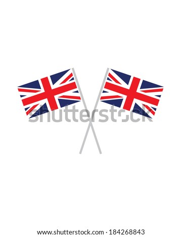 Crossed United Kingdom Flags - Vector - stock vector