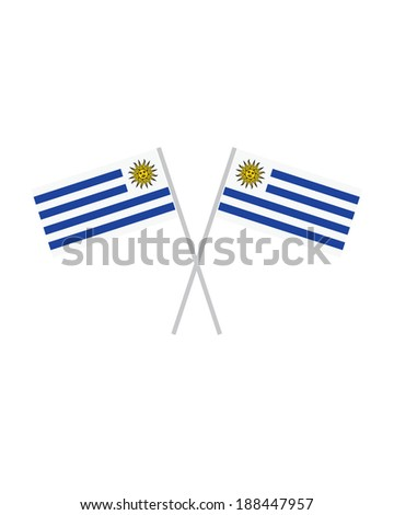 Crossed Uruguay Flags - Vector - stock vector