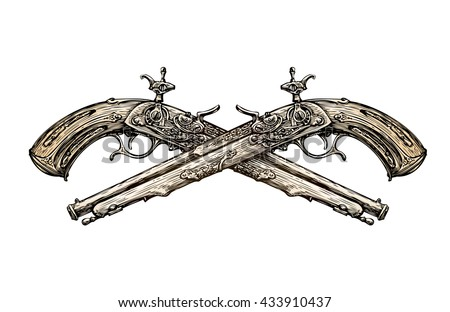 Crossed vintage Pistols. Hand drawn sketch ancient weapon. Duel. Musket Vector illustration - stock vector