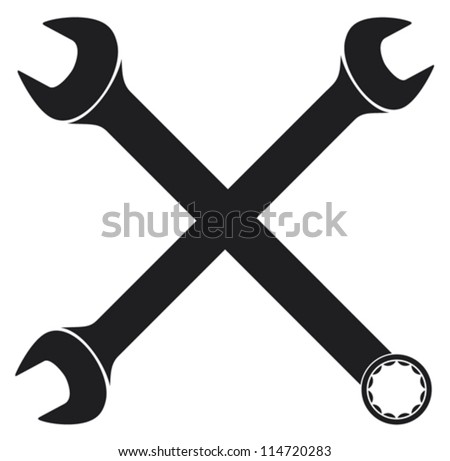 crossed wrenches (vector hand wrench tool or spanner, crossed wrenches silhouette) - stock vector