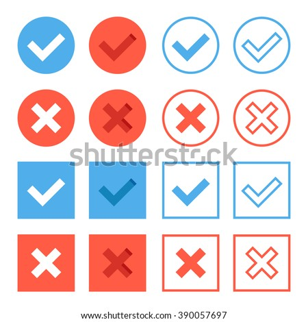 Crosses and check marks icons set. Red and blue web buttons set. Thin line, outline, flat design elements for web banners, web sites, mobile apps, infographics, printed materials. Vector icons set - stock vector