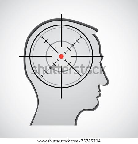 crosshair in head silhouette illustration - stock vector