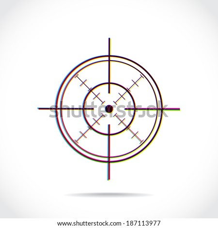 Crosshair symbol created of multiply colors - stock vector