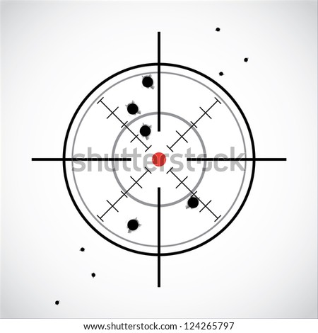 crosshair with red dot and fired shots - stock vector