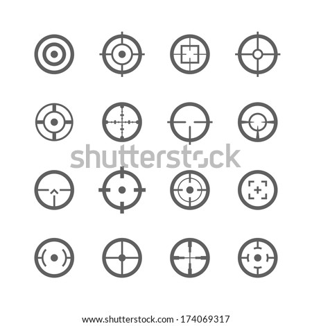 Crosshairs icons. Vector. - stock vector