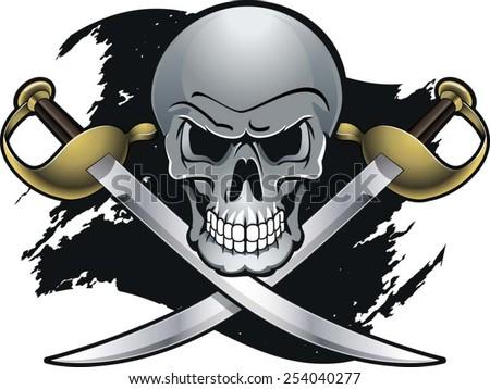 crossing cutlass swords with skull - stock vector