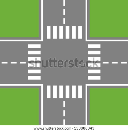 Crossing Roads (Road Intersection with pedestrian crossings) - stock vector